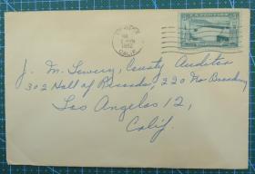 1952年8月7日美国(威尼斯)实寄封贴邮票1枚