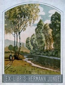 """""""瑞士艺术家""""( Otto Krebs(1870-1955))木刻套色藏书票—《郊外》签名"""