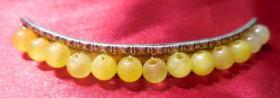 老古董纯银器老银节状边镶黄玛瑙珠弯头发簪民国期真品首饰改造件