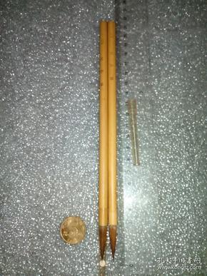 日本老毛笔(书画用笔),《3号,文字笔》2支。未使用,锋颖完整。