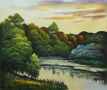 泛舟    风景  (布面油画)