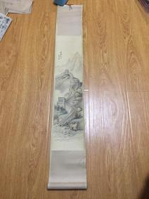 画家【高伯陵】手绘《长城东端》卷轴一幅,日本购回