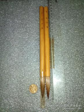 日本老毛笔(书画用笔),《8号,文字笔》2支。未使用,锋颖完整。
