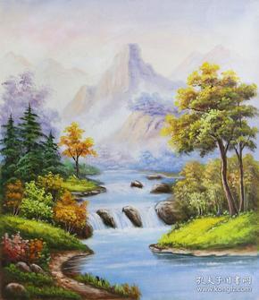 溪流    风景  (布面油画)