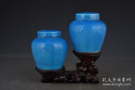 明成化蓝釉暗刻龙纹天字罐