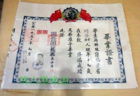 1950年福建省同安县立初级中学毕业证大张特殊毛像税票钢印完整