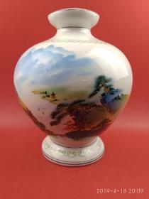 80年代手绘粉彩山水书法(李白诗)文房赏瓷或带灯底座