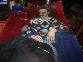 布面油画--女人像--无款,但同批画家为刘英画--大幅--品以图为淮