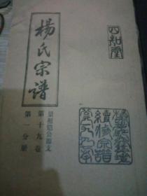 杨氏宗谱--四知堂--景祖铠公源支第十九卷第一分册