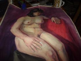 布面油画--女人裸体--无款,但同批画家为刘英画--大幅--品以图为淮
