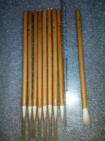 日本老毛笔(书画用笔),《大,彩色》8支。未使用,锋颖完整。(这种着色笔属高端货,纯毛料,吸墨性极好,弹性足。完全可以书画两用。