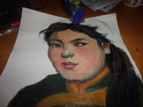 布面油画2张--女人半身头像--无款,但同批画家为刘英画--小幅-2张-品以图为淮