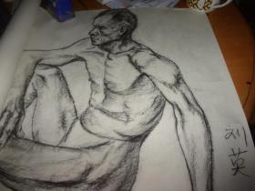 素描--男人裸体--款为刘英画--大幅--品以图为淮