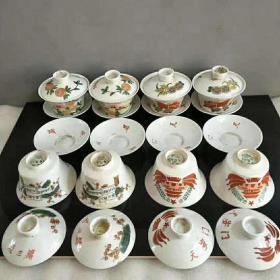 文革盖碗四对通走,保存完整,收藏佳品,无损,品相及尺寸如图,收藏摆设佳品。