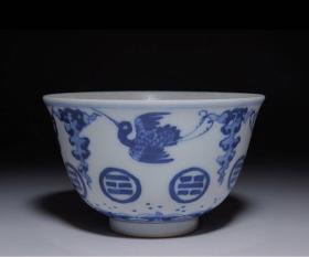 清代 八卦鹤纹青花茶杯 双蓝圈款 日本直邮