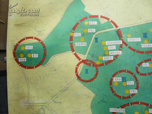 彩色手绘建筑平面设计图一张 青岛浮山公园设计功能分区 尺寸 112 83厘米