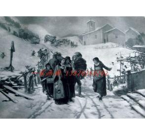 """1886年意大利艺术系列凹版蚀版画《在阿尔卑斯山遇到意外》—意大利画家""""G.Induno""""作品 44x29cm"""
