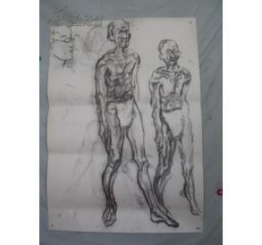 人体素描 大幅双面画一张 110 79厘米 .图片