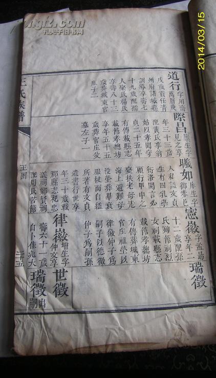 【图】老家谱--------咸丰木刻---山东即墨王氏家谱图片