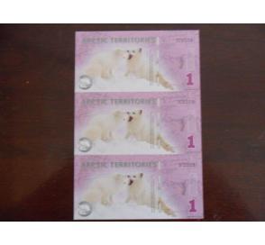 北极洲北极狐塑料三连体纪念钞