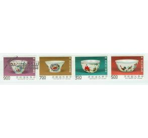 中国台湾发行 明 成化瓷 斗彩鸡缸杯等4全新
