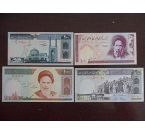 全新 伊朗4枚一套(100,200,500,1000里亚尔)套币