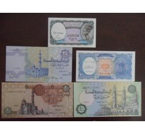 全新UNC 埃及5枚一套(5-50皮阿斯特,1镑)