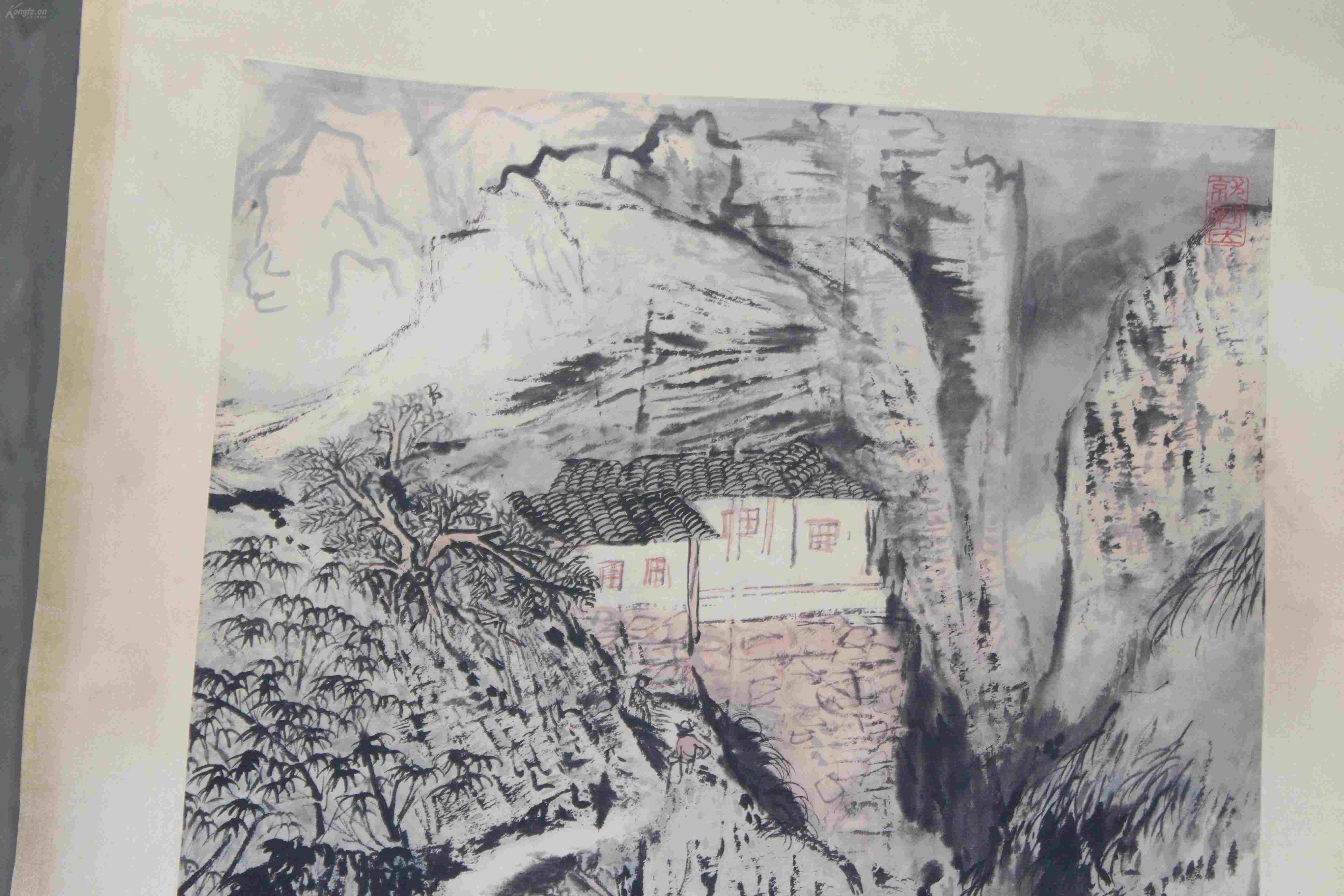 老画家自藏多年,名家陆俨少所绘精品山水《古竹洞》,老手工裱,泼墨
