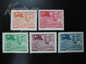 华东区 J.HD-51中国人民解放军廿二周年纪念邮票 新5全