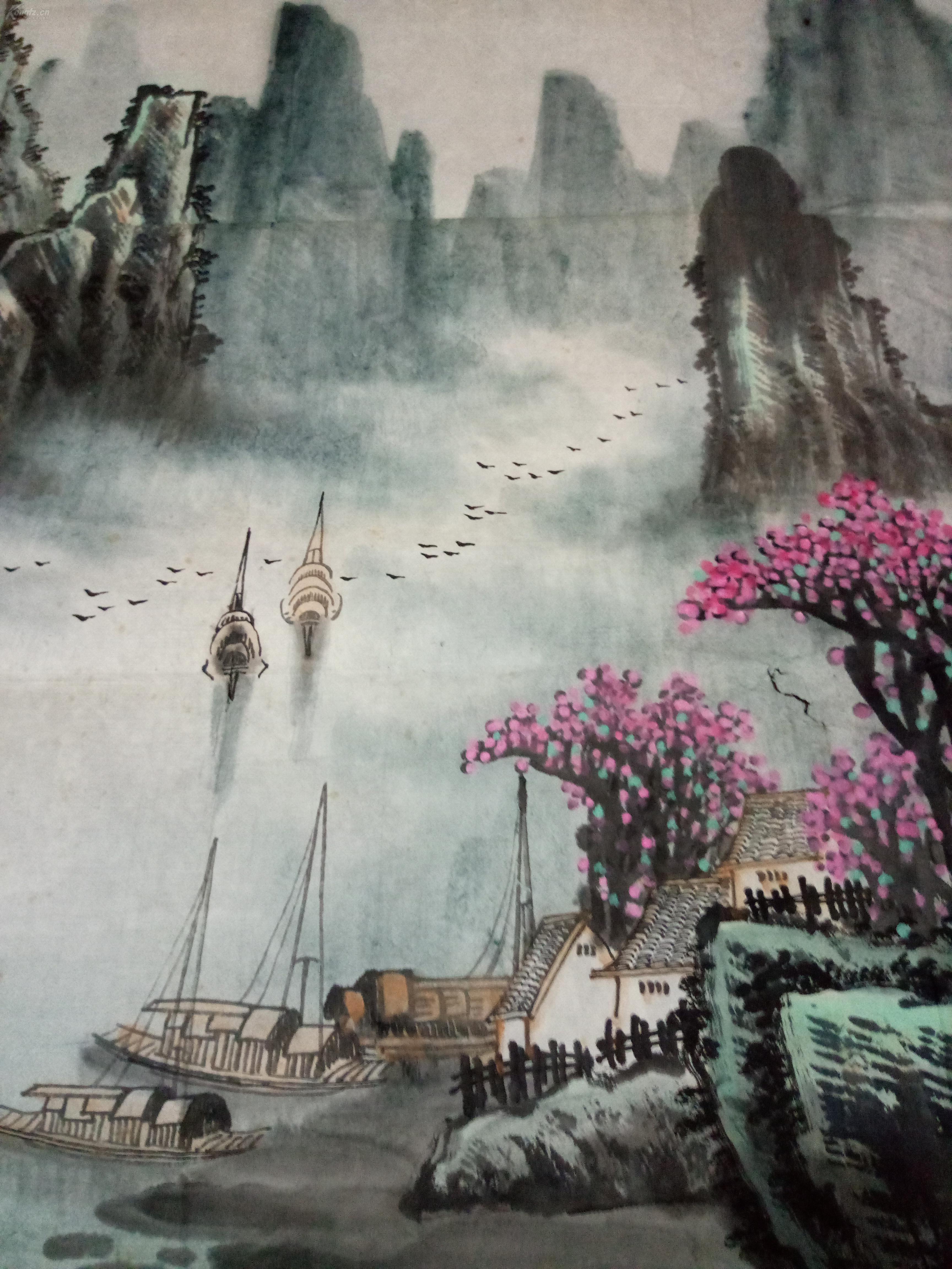 广西桂林画院九十年代的老画,大幅山水画,[漓江春色]图片