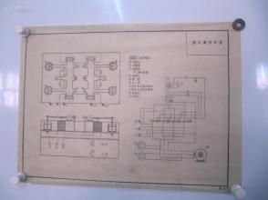 永定河水利资料老图纸一幅 -手绘原稿 《潮水机线路图》一张 蜡光纸 尺寸52/38厘米