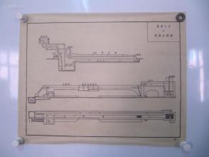 永定河水利资料老图纸一幅-手绘原稿《循环水系及玻璃水槽图》一张 蜡光纸 尺寸52/41厘米
