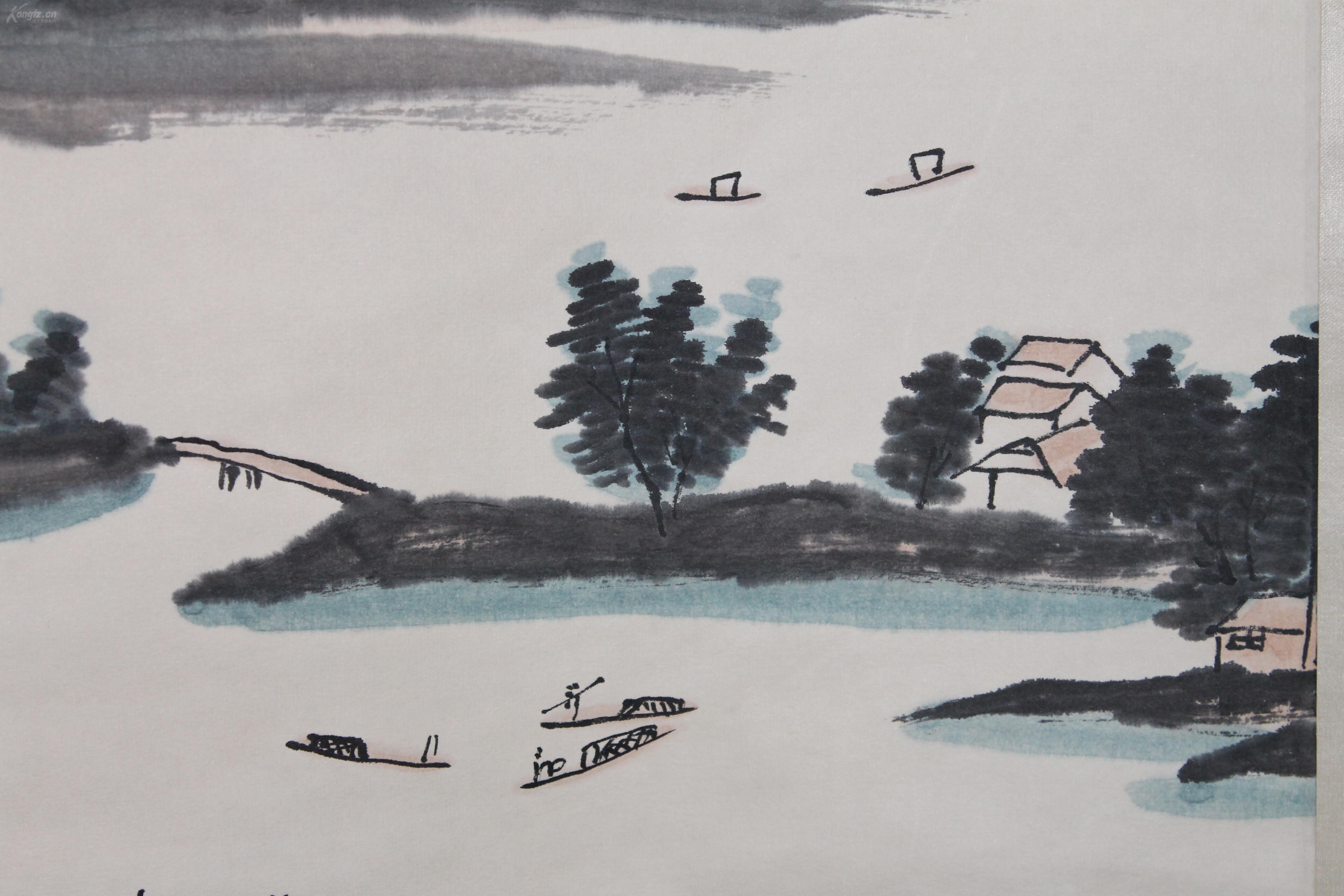 清代著名画家 【华岩】手绘山水画(春日瑞景) 大尺幅图片