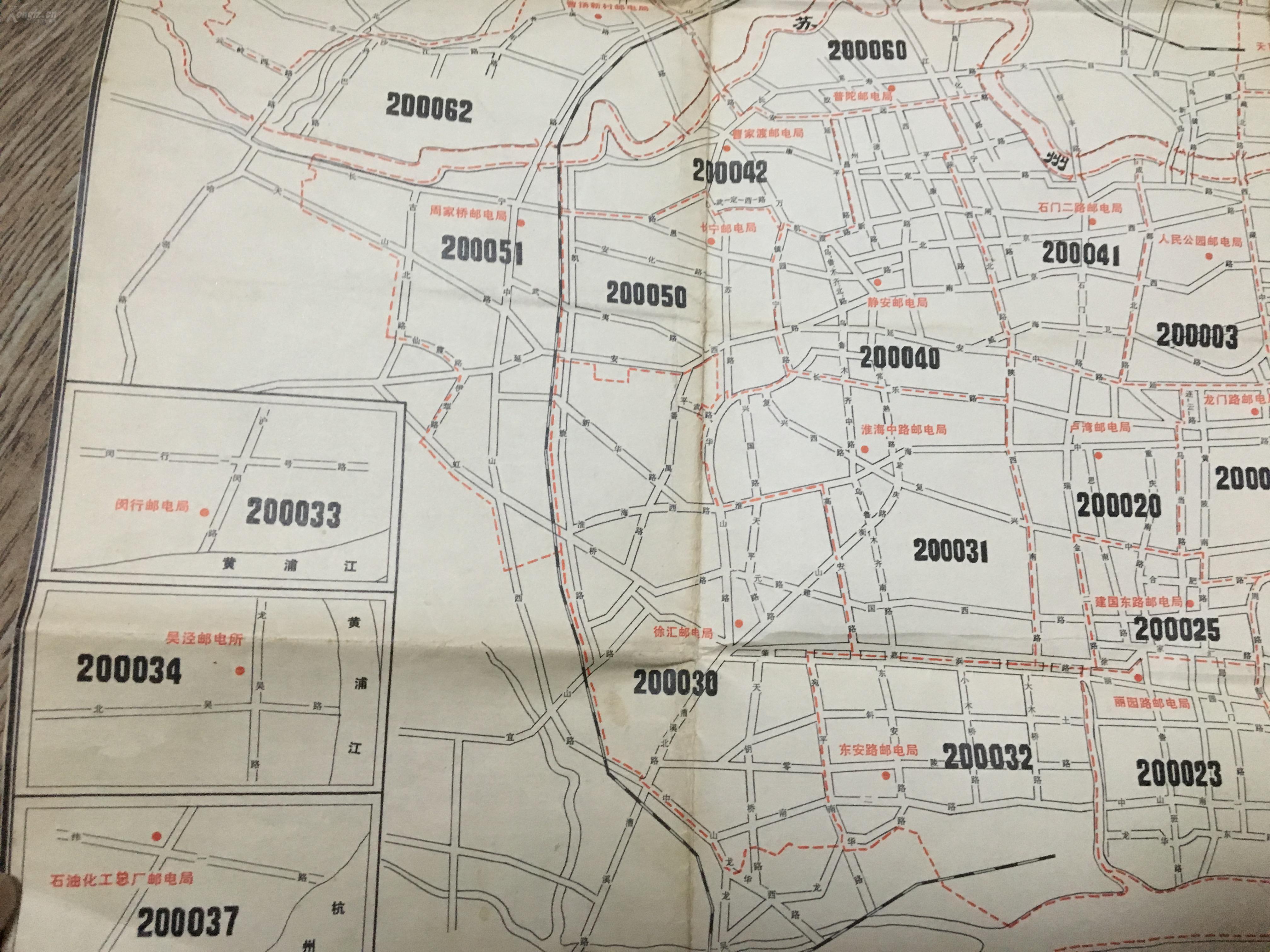 1978年上海市市区 郊区 邮政编码示意图 正反印刷