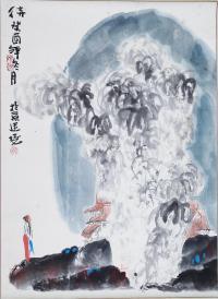 著名画家、北京美协理事 敬庭尧 1993年国画作品《邻女立姿图》一幅(纸本立轴,约3.7平尺,钤印:敬、稚趣)HXTX21690