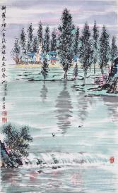 现北京湖社画会副会长、原齐白石艺术函授学院副院长 黄正襄  2003年国画作品《耕罢夕烟图》一幅(纸本立轴,约3.8平尺,钤印:黄氏、正襄)HXTX21689