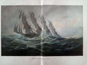 """1890年彩色平板印刷画《四桅大帆船""""彼得·瑞克麦斯号""""》(Der viermastige Klipper """"Peter Rickmers"""")---58*40.5厘米--形式不清楚(9)"""