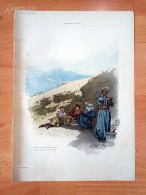 1890年套色木刻版画《在金字塔的阴凉下面享用早餐》(Frühstück im Schatten der Pyramiden)---40.5*29厘米--木刻艺术欣赏(9)