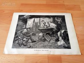 1890年木刻版画《休假中的军士》(Auf Urlaub)---40.5*29厘米--木刻艺术欣赏(z5)