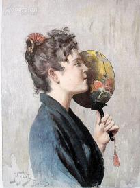 1890年小幅套色木刻版画《日式礼仪》(Im japanischen Costum)---26*25厘米--木刻艺术欣赏(1)
