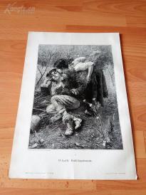 1890年木刻版画《春之梦》(Frühlingstraum)---40.5*29厘米--木刻艺术欣赏(z5)