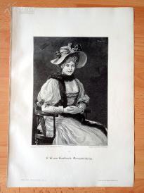 1890年木刻版画《女士画像》(Damenbildniss)---40.5*29厘米--木刻艺术欣赏(z5)