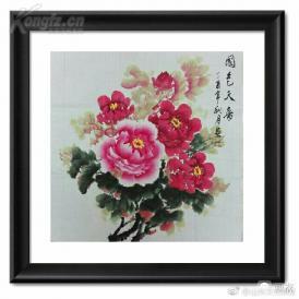 四尺斗方国画牡丹画是陈时俊老师的精品佳作 68x68