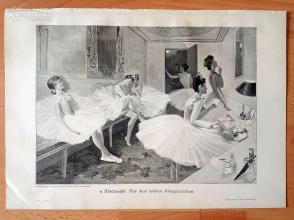 1890年木刻版画《芭蕾姑娘们》(Vor dem letzten Klingelzeichen)---40.5*29厘米--木刻艺术欣赏(14)