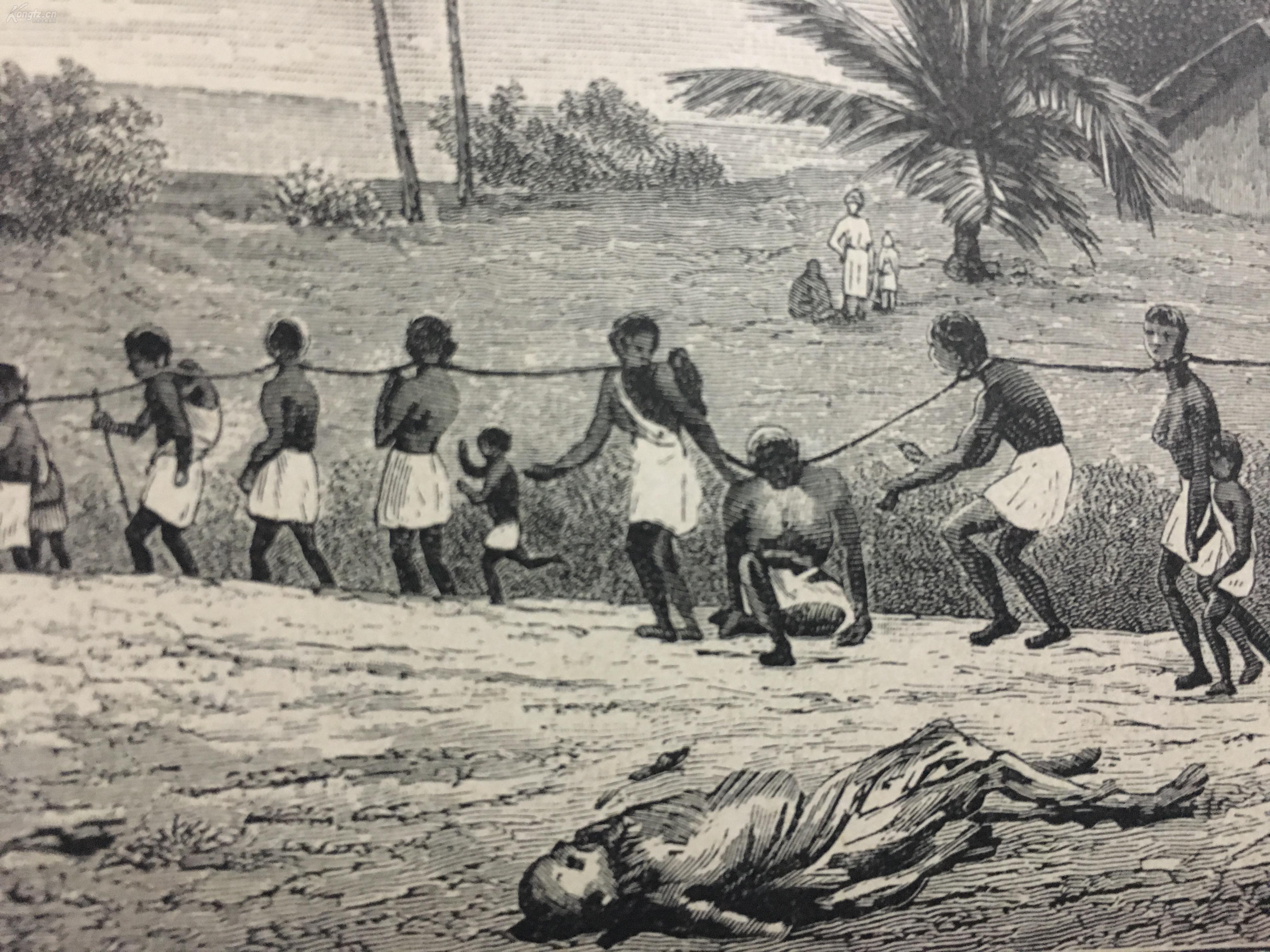 19世纪 非洲黑奴贸系列木刻版画-4 《朱门酒肉臭,路又