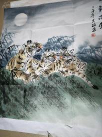 手绘国画真迹虎福气满堂,吴大维,师从王笑石,毕业于中国书画函
