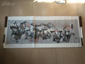 美院流出!!!【抽象画一幅10平尺, 画工精美 款不识,盖了几个章】保真!落款疑为陈丹青