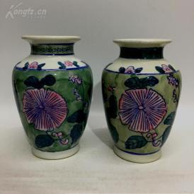 七八十年代库存老厂货文革瓷器潮州老枫溪陶瓷釉下五彩花瓶一对 店铺