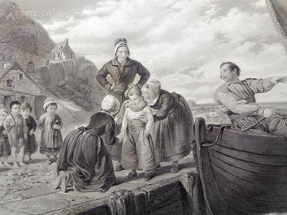 1880年钢版画《第一次离开家》(the first voyage)图片