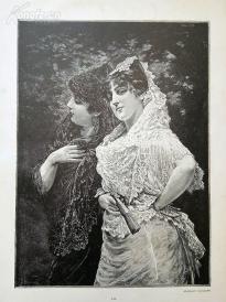 1890年木刻版画《塞维利亚女郎》(Im Parke zu Sevilla)---40.5*29厘米--木刻艺术欣赏(5)
